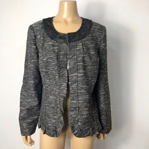 Chico's women's wool blend ruffle trim jacket